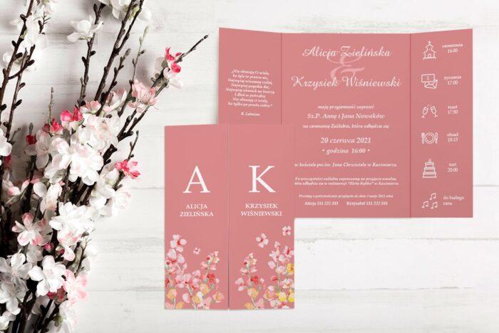 zaproszenie ślubne b6 z nawami różowe tło
