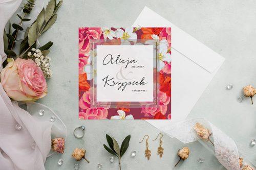 zaproszenie ślubne kwadratowe z czerwonymi kwiatami