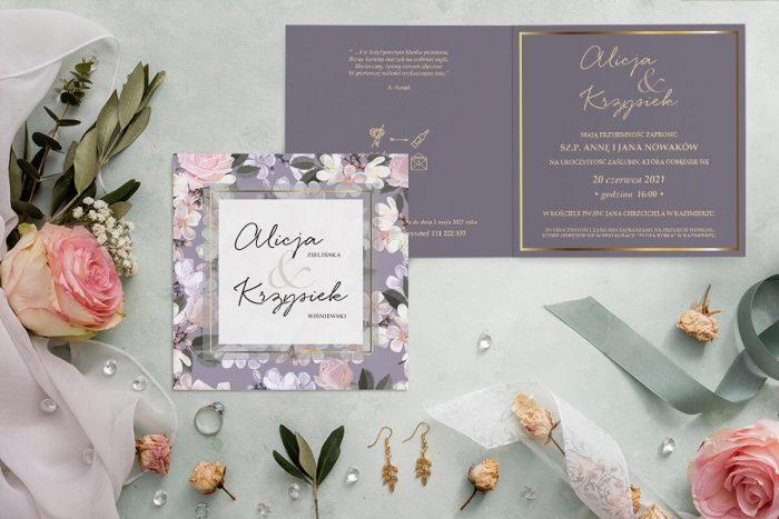 zaproszenie ślubne kwadratowe z pastelowymi kwiatami