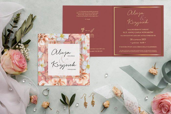 zaproszenie ślubne kwadratowe z kwiatami