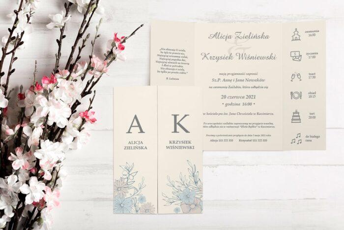 zaproszenie ślubne b6 z nawami beżowe tło