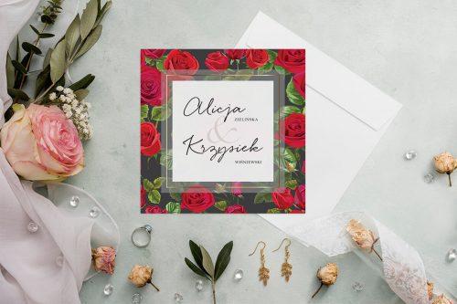 zaproszenie ślubne kwadratowe z czerwonymi różami i czarnym tłem