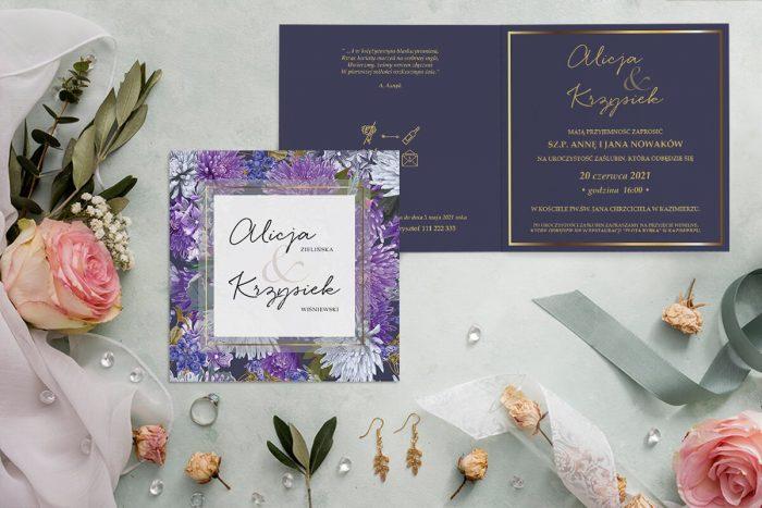 zaproszenie ślubne kwadratowe z fioletowymi kwiatami