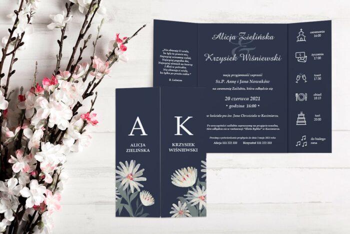 zaproszenie ślubne b6 z nawami granatowe tło białe kwiaty