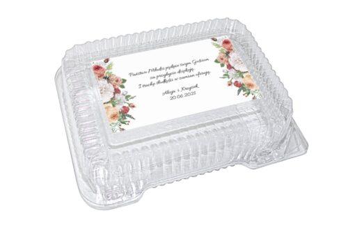 naklejka na pudełko plastikowe kolorowe kwiaty