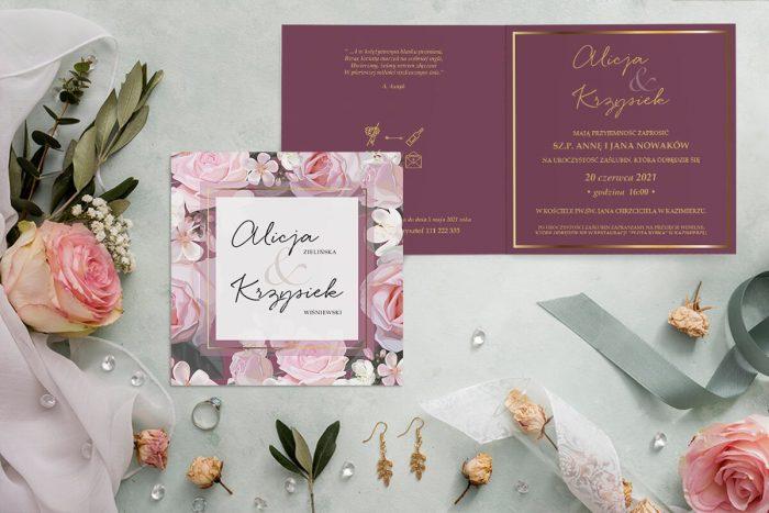 zaproszenie ślubne kwadratowe z różowymi różami