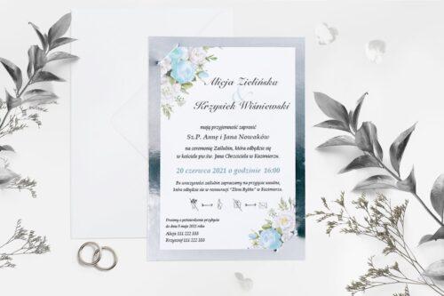 niebiesko białe kwiaty ze srebrną podkładką