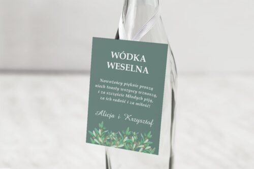 zawieszka na alkohol zielona z kwiatami