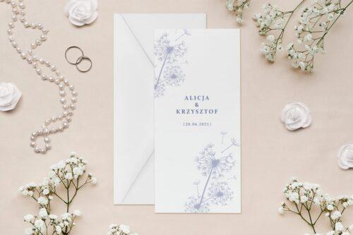 zaproszenie rysunkowe kwiaty dmuchawiec