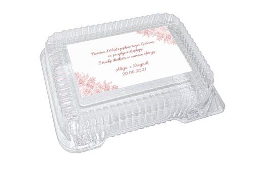 naklejka na plastikowe pudełko różowe róże