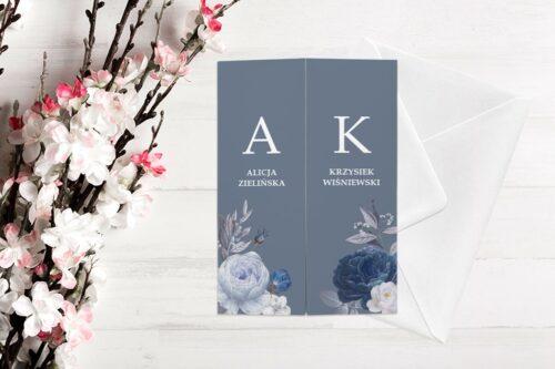 zaproszenie ślubne b6 z nawami niebiesko granatowe kwiaty