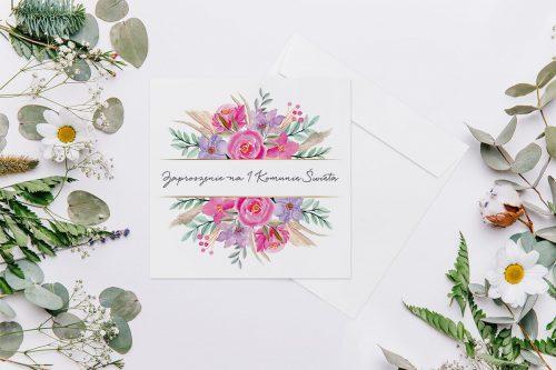 Zaproszenie na komunię - Kwadratowe z kwiatami i z paskiem