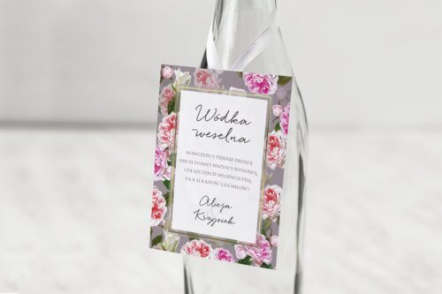 zawieszka na alkohol wzór 20 różowe kwiaty