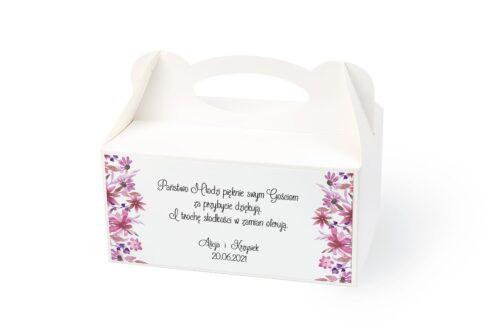 naklejka na pudełko na ciasto wzór 24 różowe kwiaty