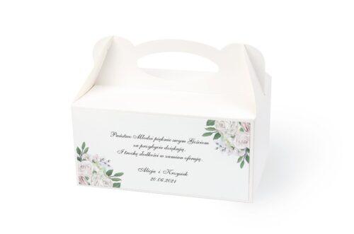 naklejka na pudełko na ciasto wzór 26 białe kwiaty