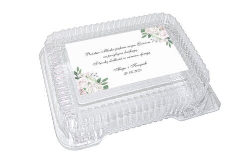 naklejka na pudełko plastikowe wzór 26 białe róże