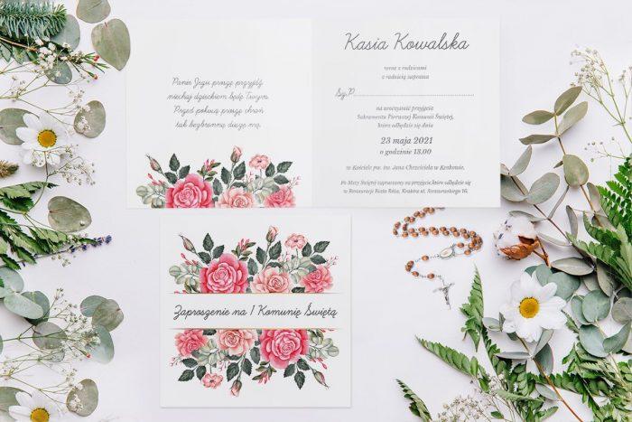zaproszenie komunijne z kwiatami czerwonych róż i paskiem
