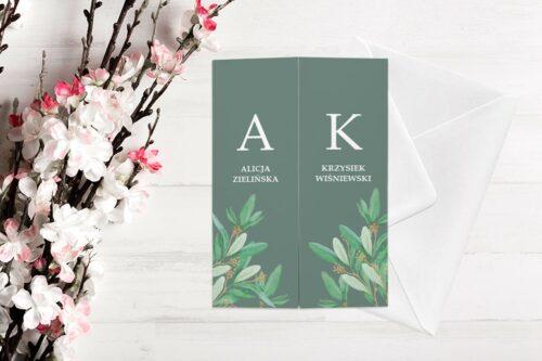 zaproszenie ślubne b6 z nawami liście i zielone tło