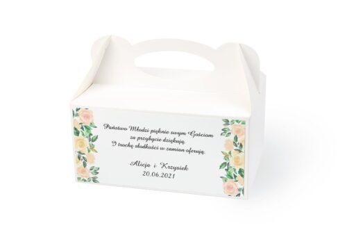 naklejka na pudełko na ciasto wzór 50 kwiaty