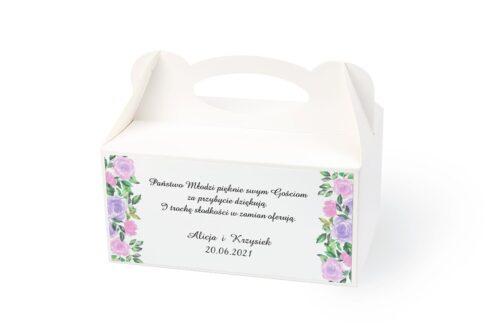 naklejka na pudełko na ciasto wzór 51 fioletowe kwiaty