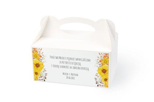 naklejka na pudełko na ciasto wzór 52 żółte kwiaty