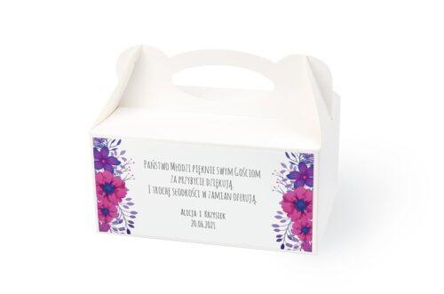 naklejka na pudełko na ciasto wzór 53 fioletowe kwiaty