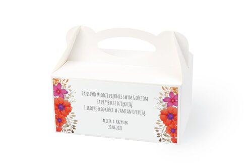 naklejka na pudełko na ciasto wzór 54 czerwone kwiaty