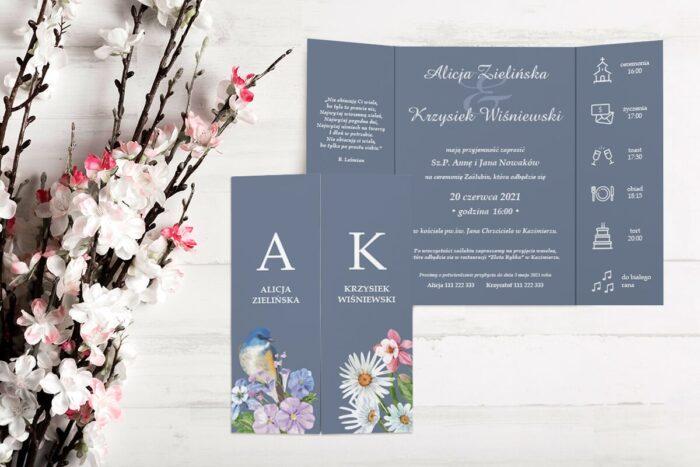 zaproszenie ślubne b6 z nawami kwiaty z ptaszkiem