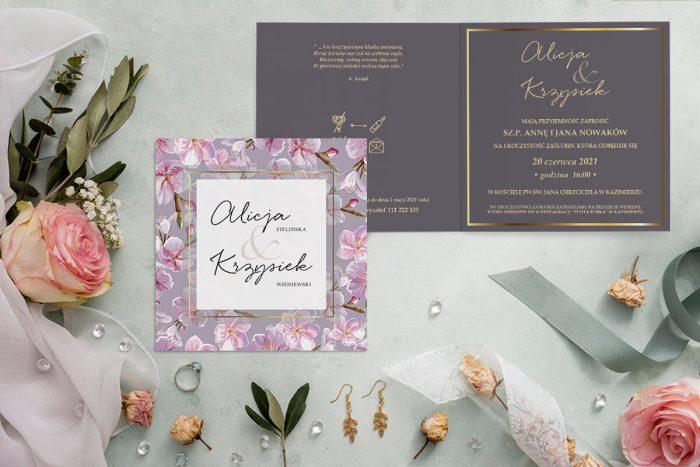 zaproszenie ślubne brudny róż tło i różowe storczyki
