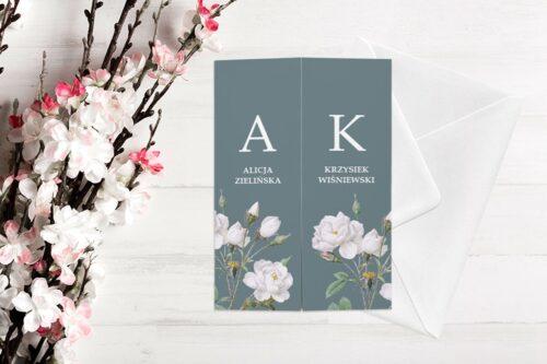 zaproszenie ślubne b6 z nawami białe kwiaty