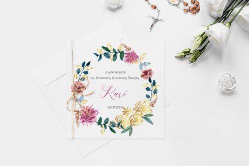 zaproszenie na komunie z wiankiem kolorowych kwiatów