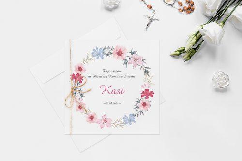 zaproszenie komunijne z kolorowym wiankiem kwiatów