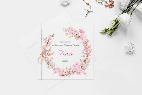 zaproszenie komunijne z kolorowym wiankiem kwiatów pudrowy róż