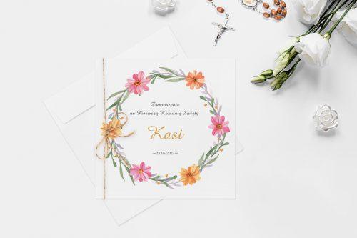 zaproszenie na komunie z wiankiem kwiatów