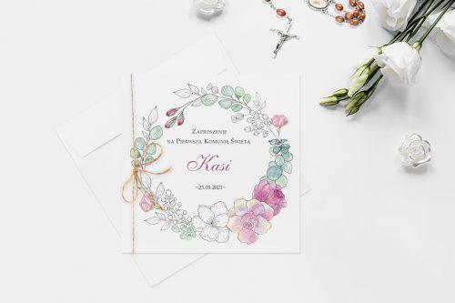 zaproszenie komunijne wianek z kwiatów kolorowych