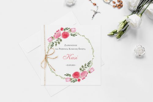 zaproszenie komunijne z wiankiem kwiatów róż