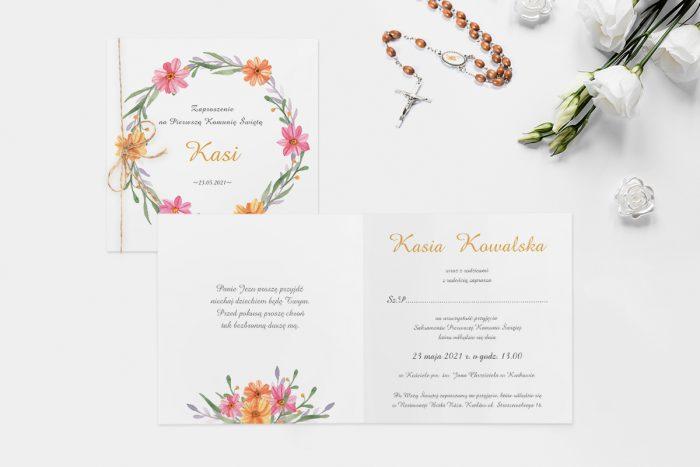 zaproszenie ślubne z wiankiem kolorowych kwiatów