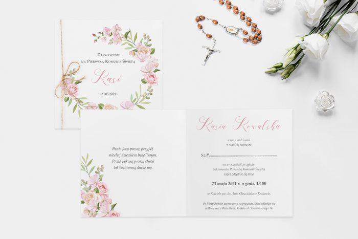 zaproszenie na komunie wianek z pastelowych kwiatów