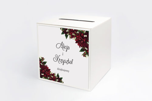pudełko na koperty Bordowe Dalie