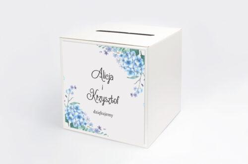 pudełko na koperty niebieskie hortensje