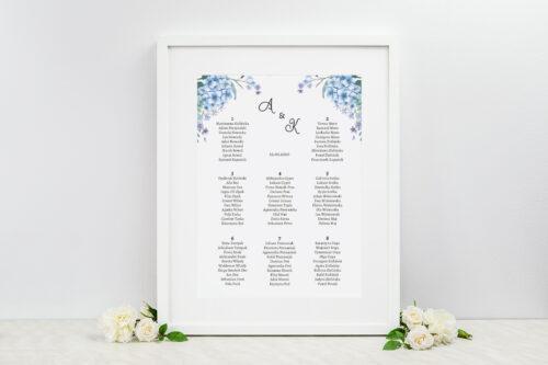 plan stołów weselnych niebieskie hortensje