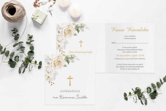 zaproszenia na komunie z krzyżem i białymi kwiatami