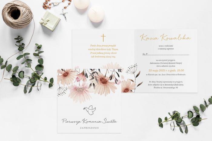 zaproszenia na komunie z krzyżem i pastelowymi kwiatami