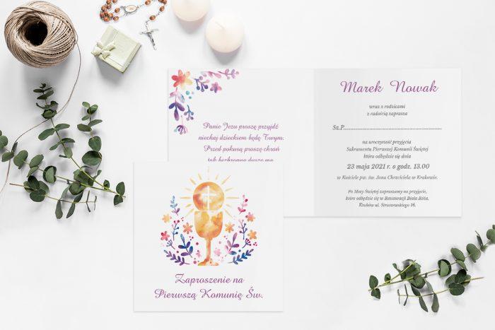 zaproszenia-na-komunie-kwadratowe-z-kwiatami i kielichem