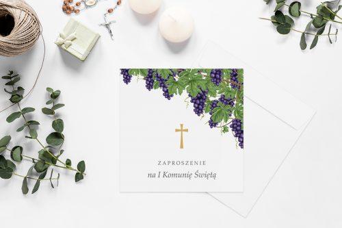 zaproszenia na komunie z krzyżem i winogronami