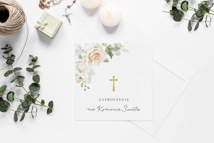 zaproszenia-na-komunie-kwadratowe-z-kwiatami-wzor-11-papier-matowy-koperta-k4-szara
