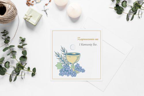 zaproszenie na komunie z kielichem i winogronami