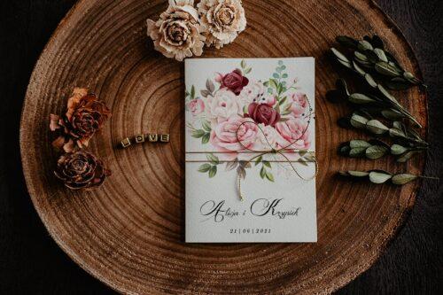 Zaproszenia na ślub - Kwiatowe Gałązki - wzór 12