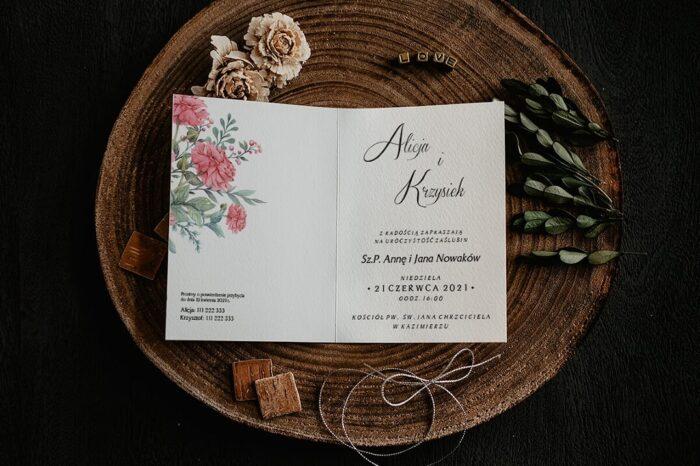 Zaproszenia na ślub - Kwiatowe Gałązki - wzór 13