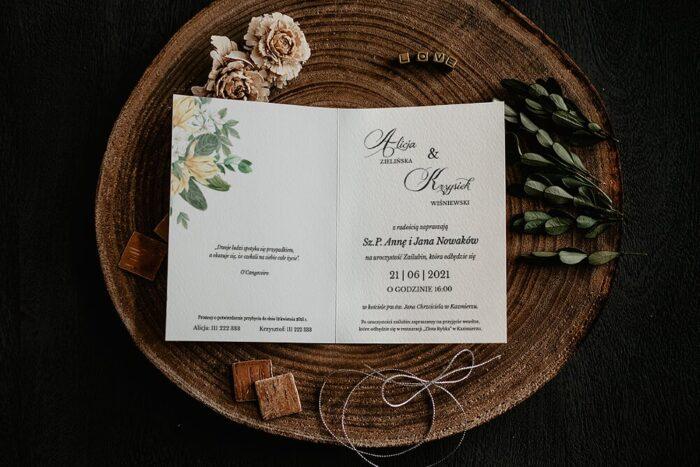 Zaproszenia na ślub - Kwiatowe Gałązki - wzór 14